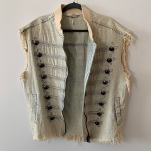 Free People Officer Denim Vest